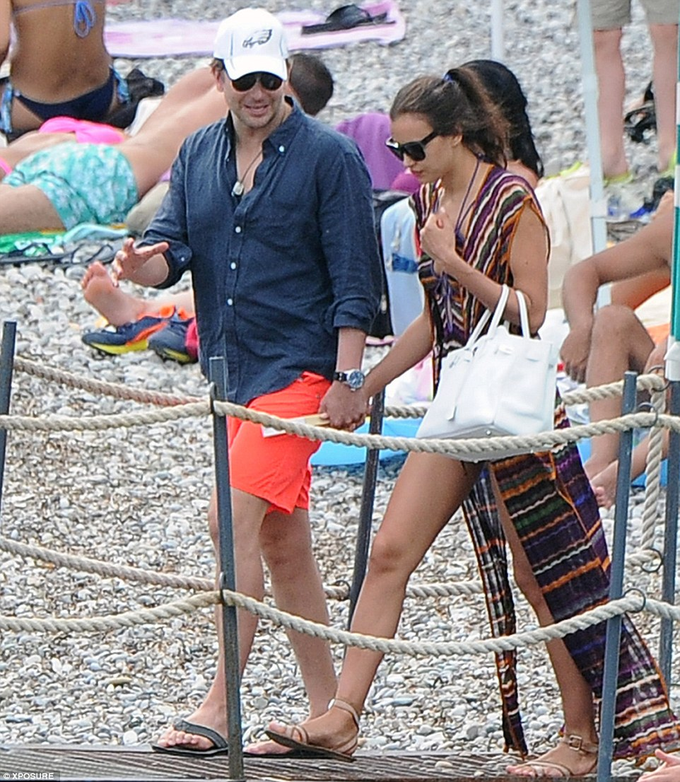 couple bradley cooper and irina shayk at harbour on holiday in italy