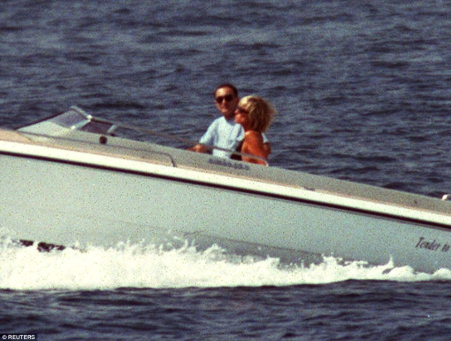 princess diana and dodi take tender to Mohamed Al-Fayed's superyacht sokar (ex Jonikal) on vacation with dodi in summer 1997