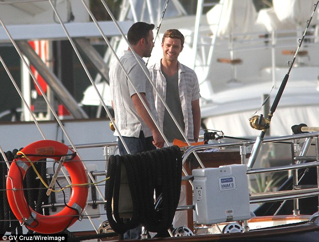 justin timberlake and ben affleck film runner runner on charter yacht asolare