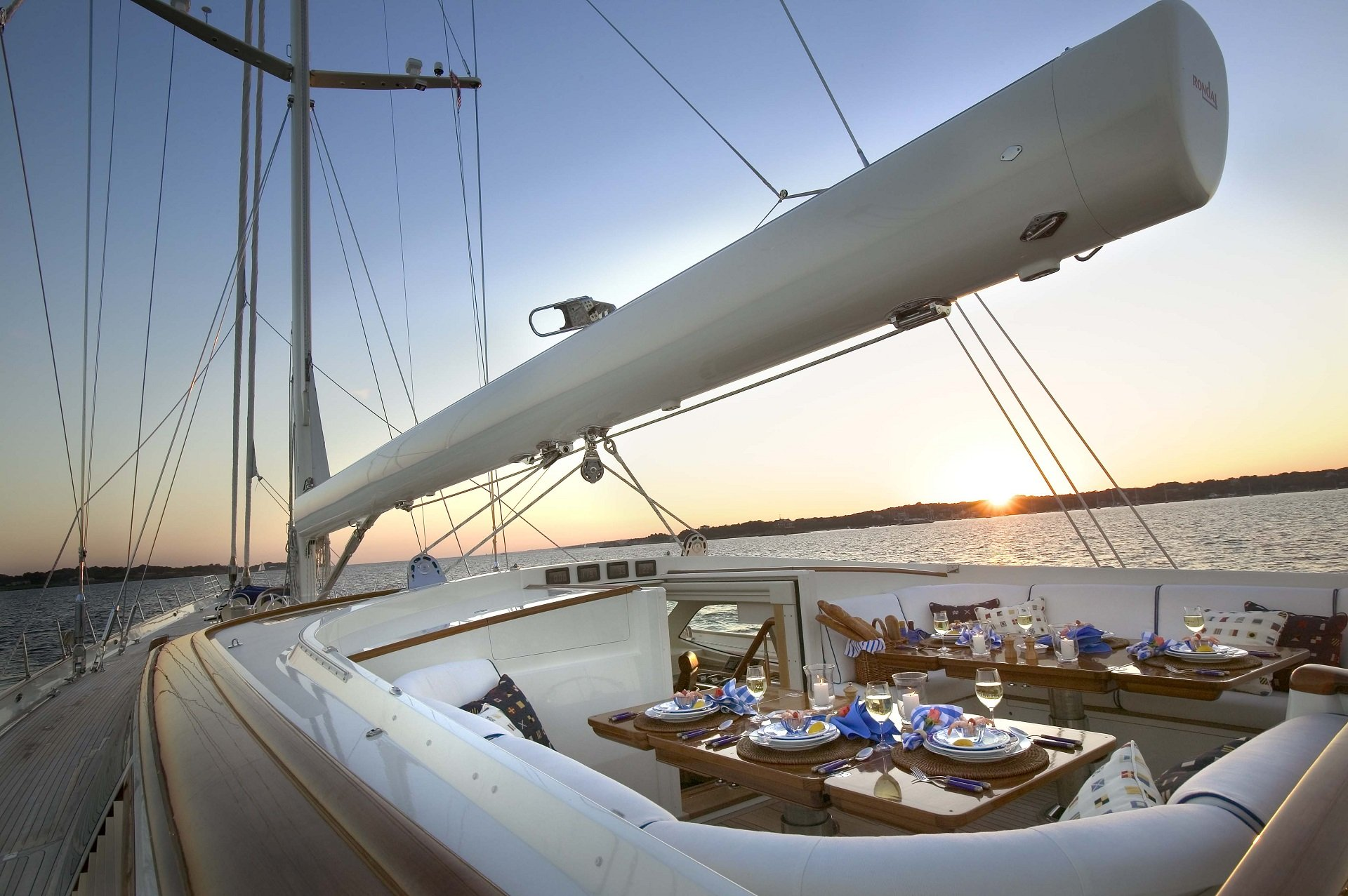 sailing yacht asolare's deck seating area featured in film runner runner (starring justin timberlake and ben affleck)