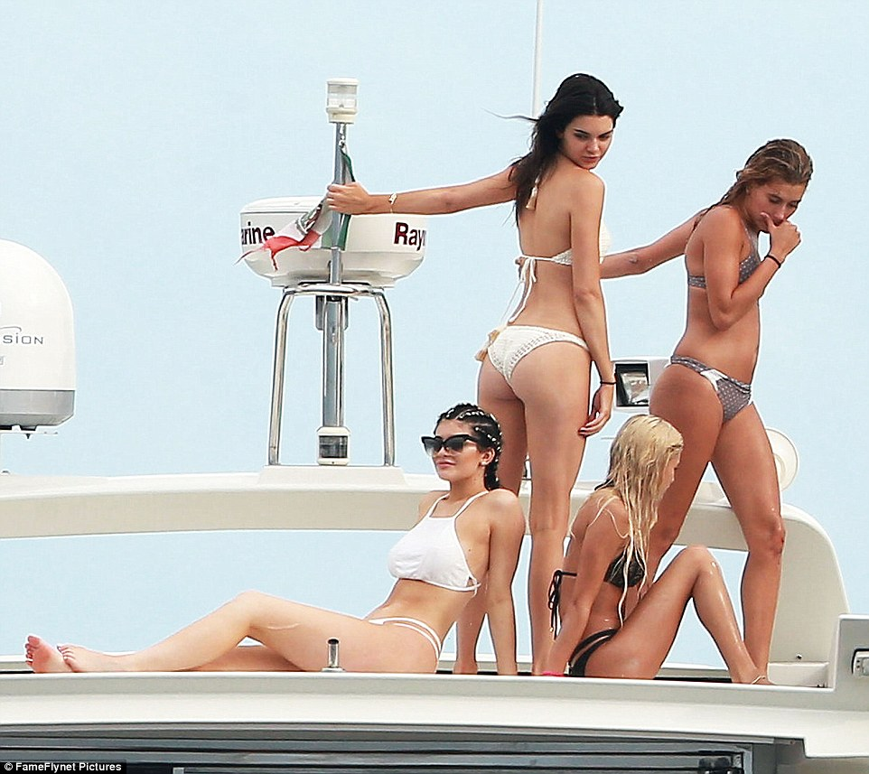 Kylie and Kendall Jenner on yacht 2015 1