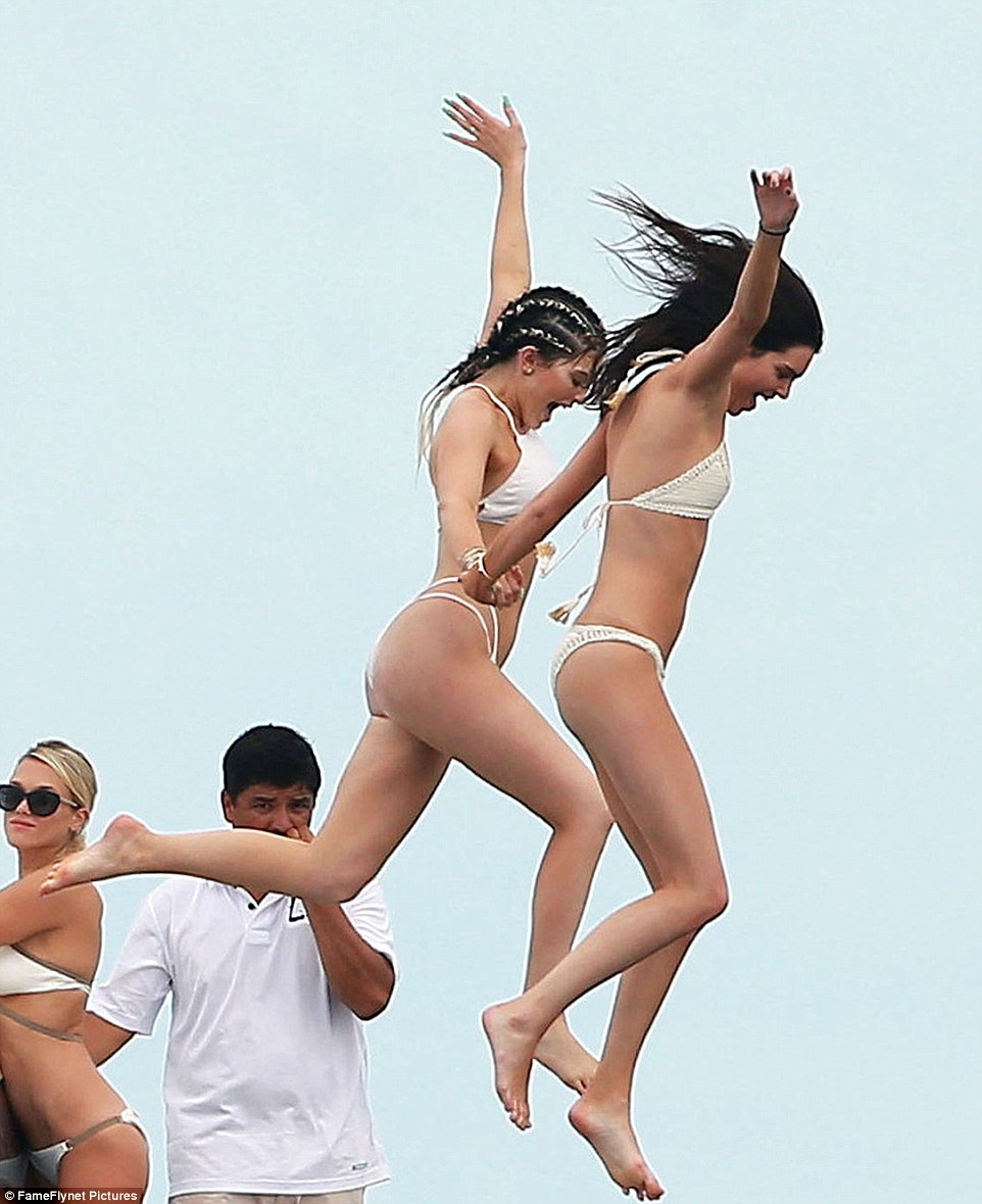 Kylie and Kendall Jenner on yacht 2015 2