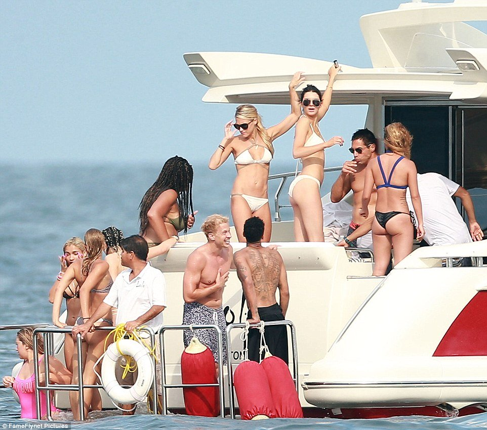 Kylie and Kendall Jenner on yacht 2015 3