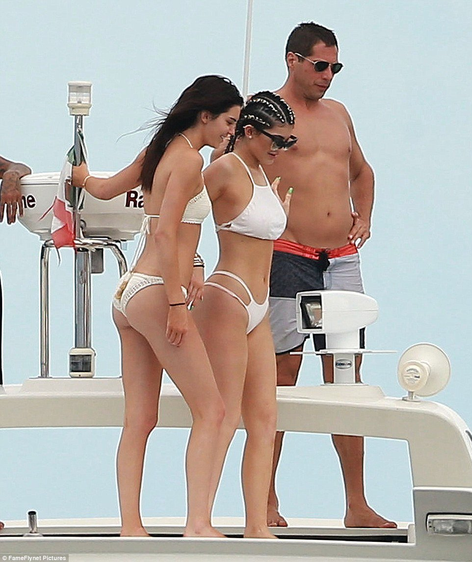 Kylie and Kendall Jenner on yacht 2015 6