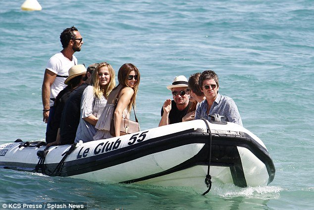 noel gallagher and bono (and wives) travel by tender to bono's luxury yacht 'kingdom come' in st tropez