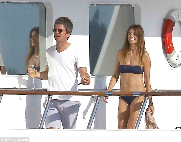 noel gallagher and wife sara macdonald on board luxury yacht 'kingdom come' (owned by Bono) in st tropez
