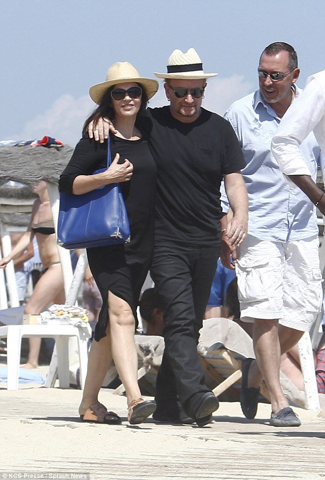 singer bono and wife ali hewson on st tropez beach on luxury yacht vacation on superyacht 'kingdom come'