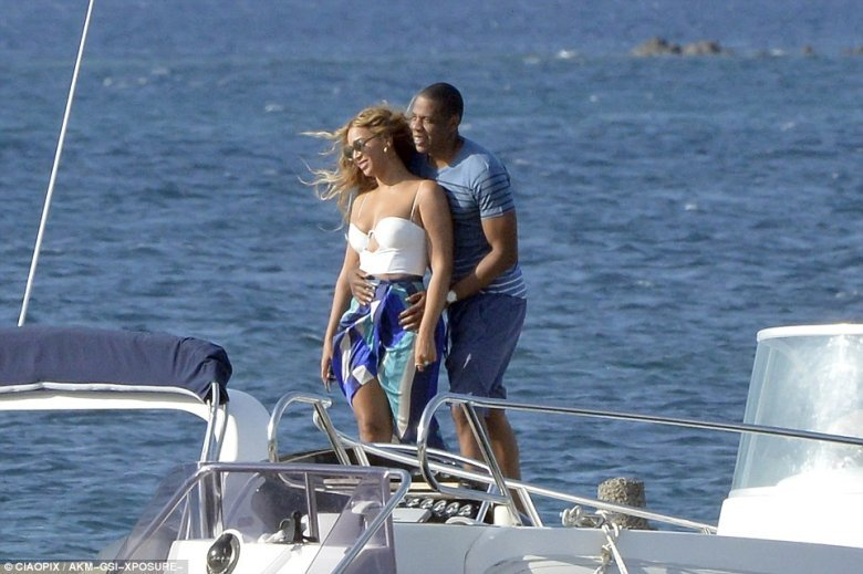 beyonce and jay z on tender to Superyacht Galactica Star
