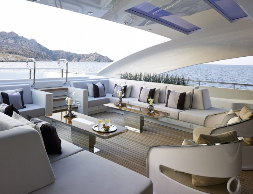 motor yacht Galactica Star's (rented by Jay Z and Beyonce) shaded deck seating area